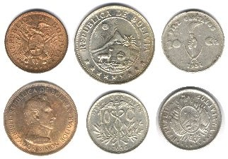 Image is loading BOLIVIA-COINS-SET-OF-7-PIECES-AU-UNC
