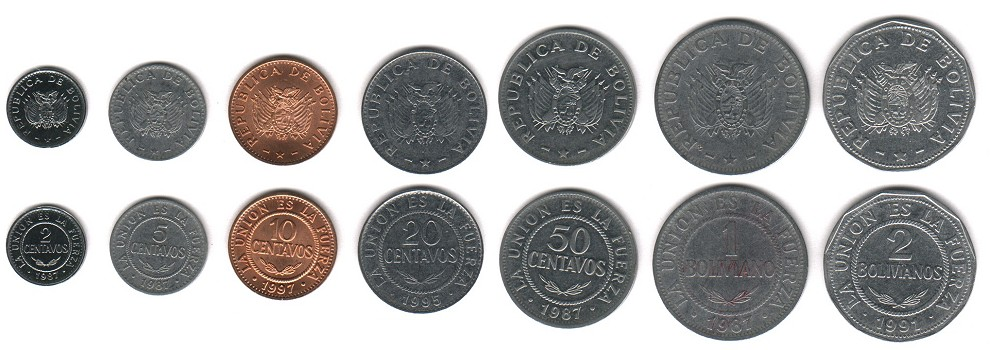Bolivian Currency Coins Images