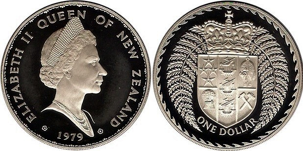 Km48a 1 Dollar 1979 Crowned Shild Within Silver Fem