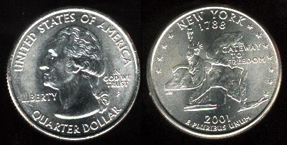 Usa 25 Cents 2001 New York Km318 M 0565 Aukro Archiv